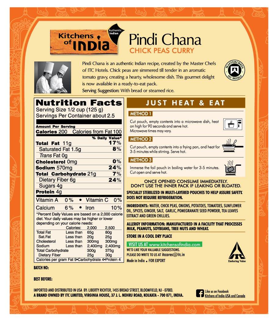 Amazon.com : Kitchens Of India Ready To Eat Pindi Chana, Chick Pea Curry,  10 Ounce Boxes (Pack Of 6) : Indian Food : Grocery U0026 Gourmet Food