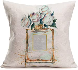 "ShareJ Throw Pillow Cover Perfume Floral Hand Drawn French Perfume Watercolor Trend Aroma Design Square 18""×18"" Pillowcase for Home Decor Cotton Linen Cushion Case"