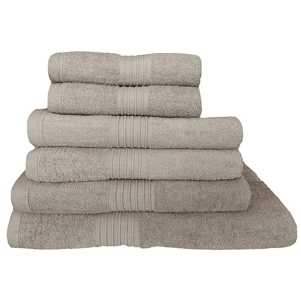 100% Cotton Towels Set 500gsm 6 Piece Luxury Bale Bathroom Towels Large Striped Super Soft Combed Highly Absorbent High Quality Towels, Beige De Lavish