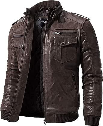FLAVOR Men Biker retro Brown Leather Motorcycle Jacket Genuine Leather jacket