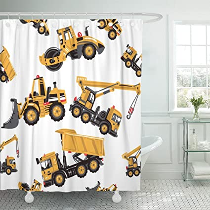 Emvency Shower Curtain Road Roller Bulldozer Dumper Truck Crane Inspired By Building Machinery For Childrens Room