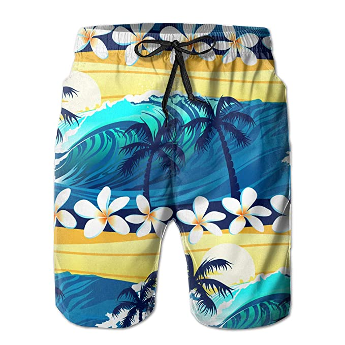 e4b6717dedd4 Tropical Surfing with Palm Trees Men's Summer Casual Shorts Beachwear  Sports Swimming Short Trunks Quick Dry
