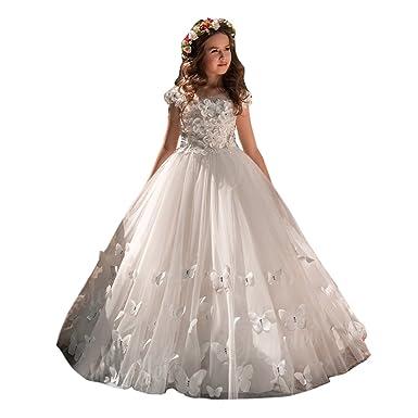 Kengtong Papillon Fille Robe Longue Formelle de Princesse en Dentelle    Fleur Costume Belle sans Manches pour Soirée Cérémonie Anniversaire  Mariage  ... d0a70f205cc