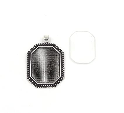 22X30mm octagonal pendant trays with glass