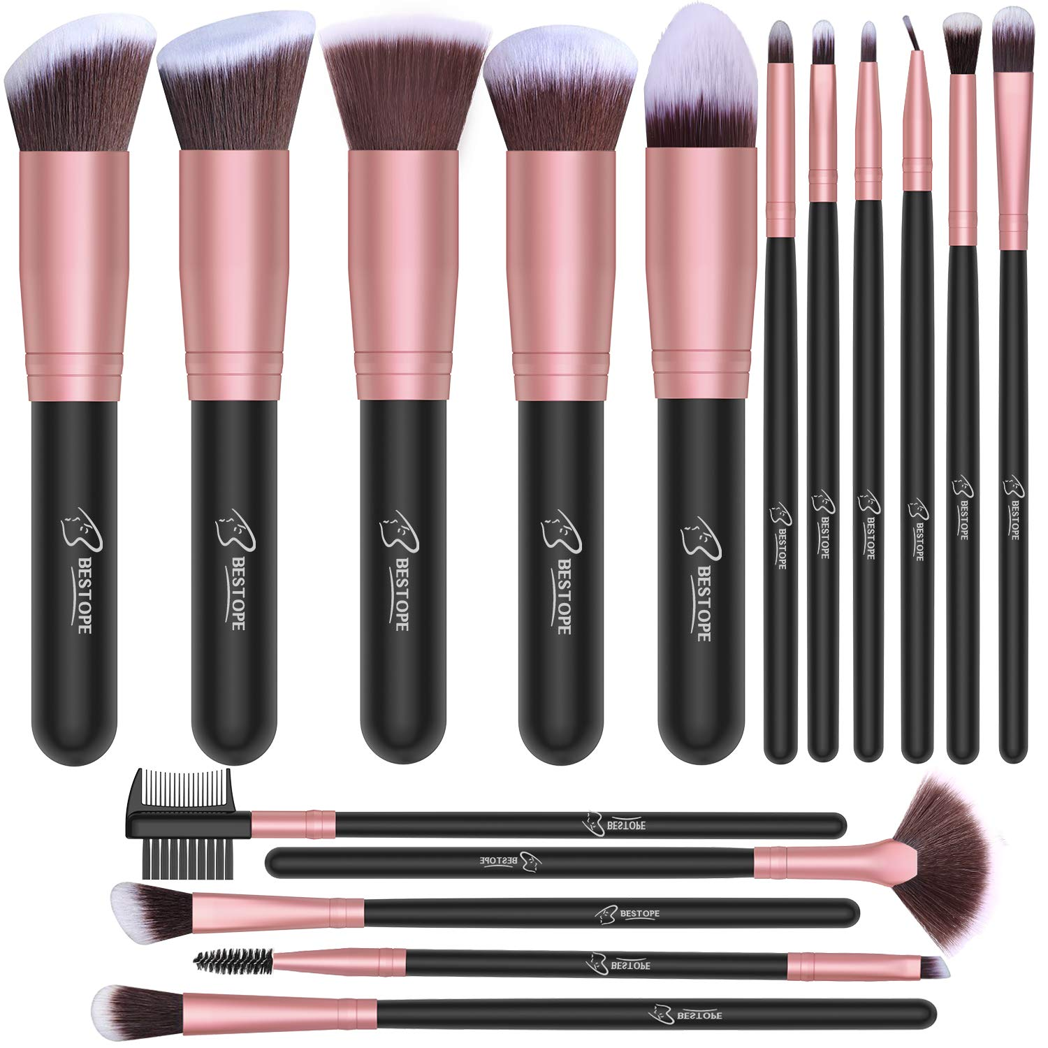 BESTOPE Makeup Brushes 16 PCs Makeup Brush Set Premium Synthetic Foundation Brush Blending Face Powder Blush Concealers Eye Shadows Make Up Brushes Kit (Rose Golden): Beauty