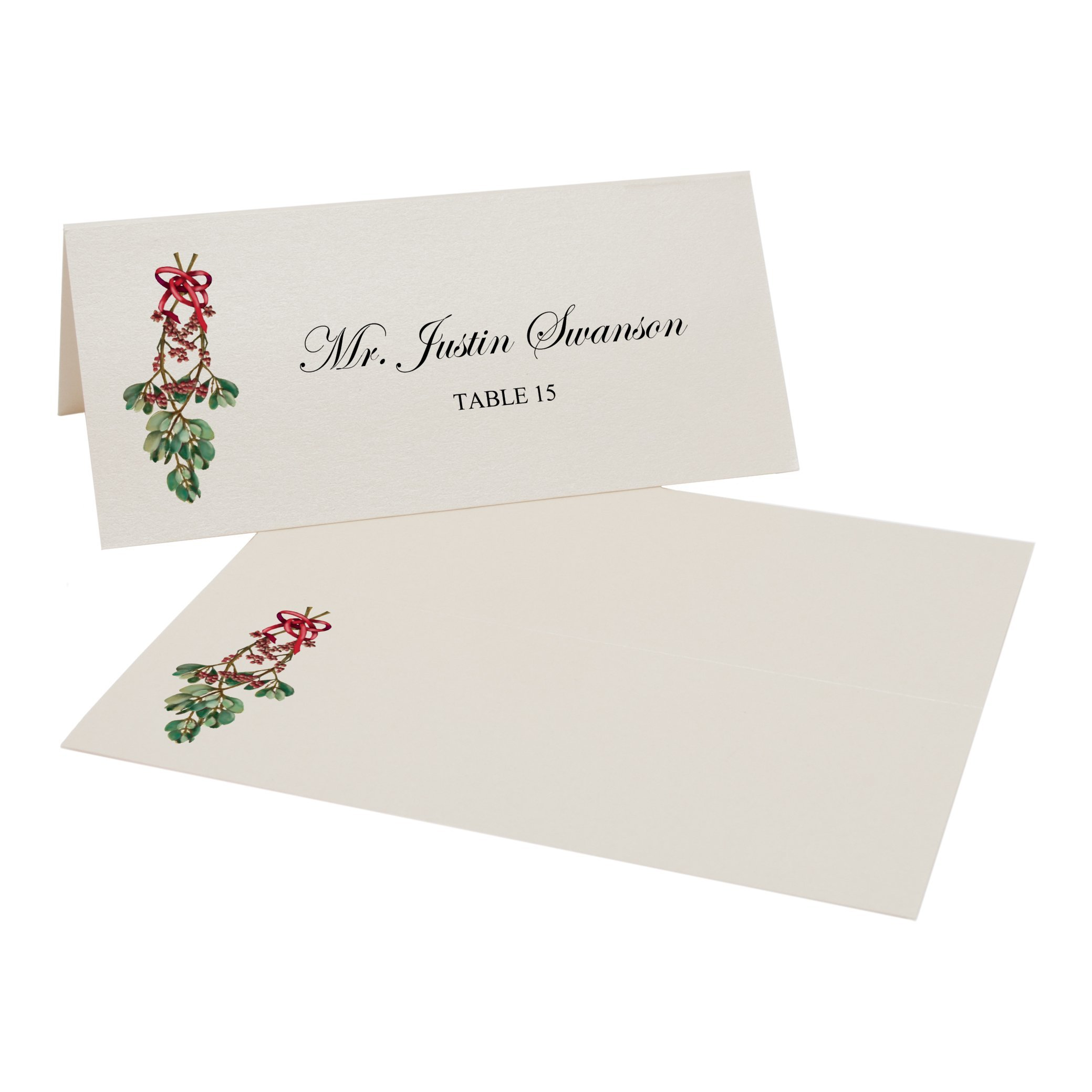 Mistletoe Place Cards, Champagne, Set of 375 by Documents and Designs