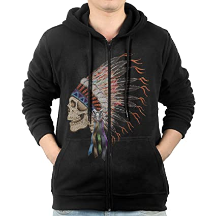 GGDDAA Men Indian Headdress Skull Image B-boy Casual Style Hoodie Sweatshirt  Casual Style M 1b59bd204