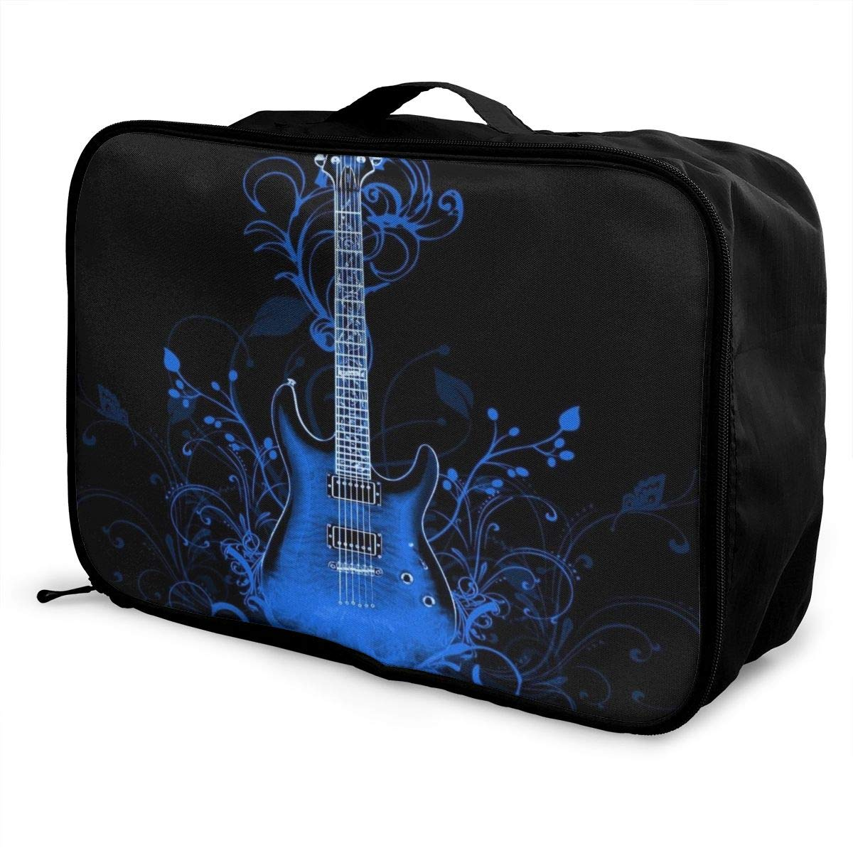 Floral Guitar Navu Blue Travel Lightweight Waterproof Folding Storage Portable Luggage Duffle Tote Bag Large Capacity In Trolley Handle Bags 6x11x15 Inch