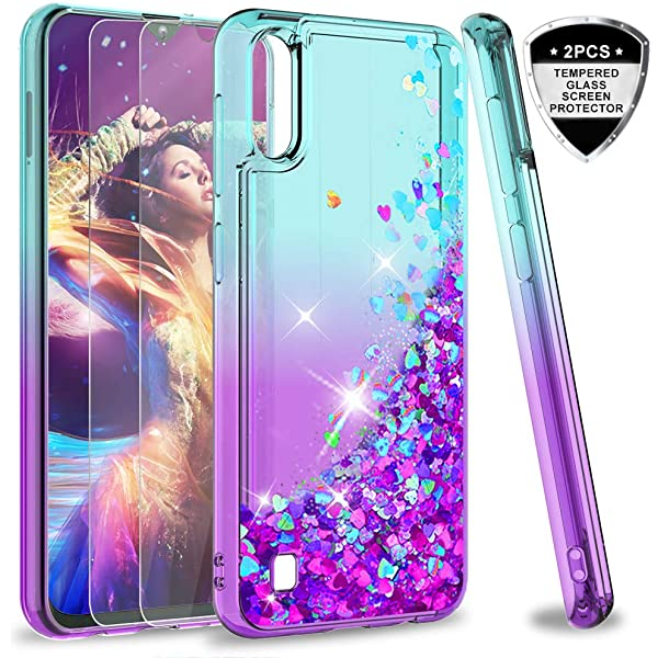 WIWJ Compatible with Samsung Galaxy M10//A10 Case Heavy Duty Shockproof Case Solid Color Glitter Quicksand TPU Silicone Case Clear Phone Cover for Samsung Galaxy M10//A10-Purple
