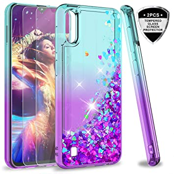 LeYi Compatible con Funda Samsung Galaxy M10 / A10 Silicona Purpurina Carcasa con [2-Unidades Cristal Vidrio Templado], Transparente Cristal Bumper ...