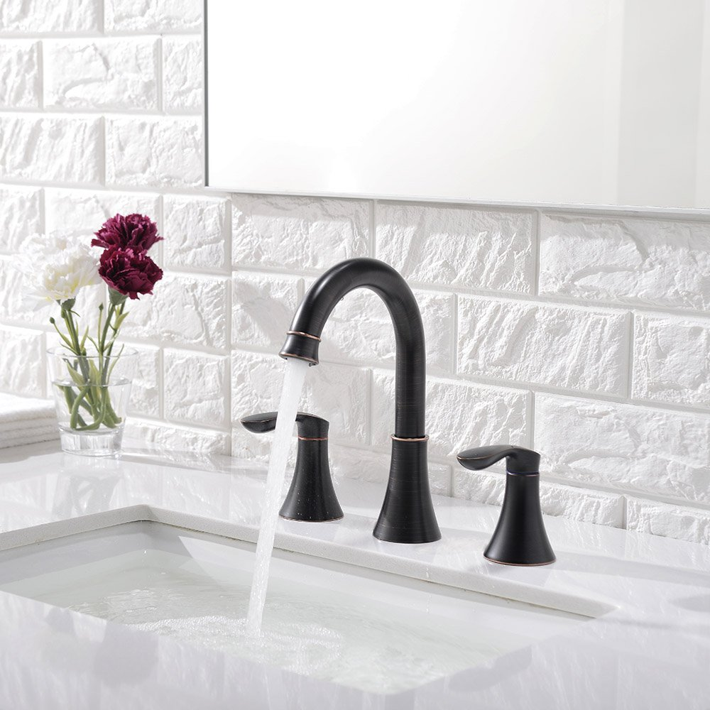 Friho Lead-Free Commercial Two Handle Three-Hole Oil Rubbed Bronze ...