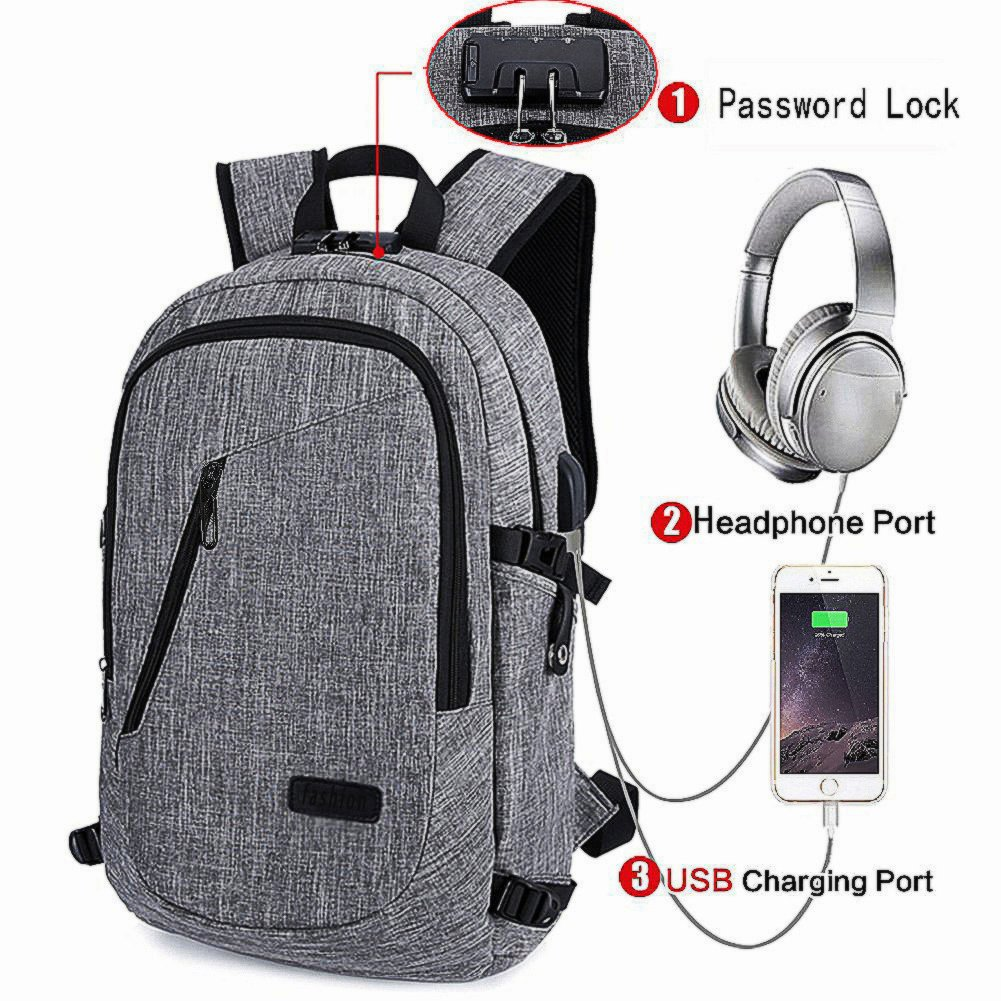 Business Laptop Backpack with USB Charging & Headphone Port and Password Lock, Fits 12-16 Inch Laptop and Notebook, Water Proof School Rucksack Business Knapsack Travel Daypack College Bookbag (Grey)