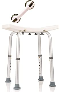Dr. Maya Adjustable Bath And Shower Chair With Free Suction Assist Shower  Handle Large White