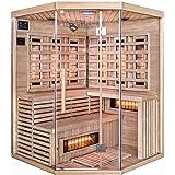 Home Deluxe – Infrarotkabine – Sahara XXL – Vollspektrumstrahler – Holz: Hemlocktanne - Maße: 200 x 150 x 150 cm – inkl. vielen Extras und komplettem Zubehör