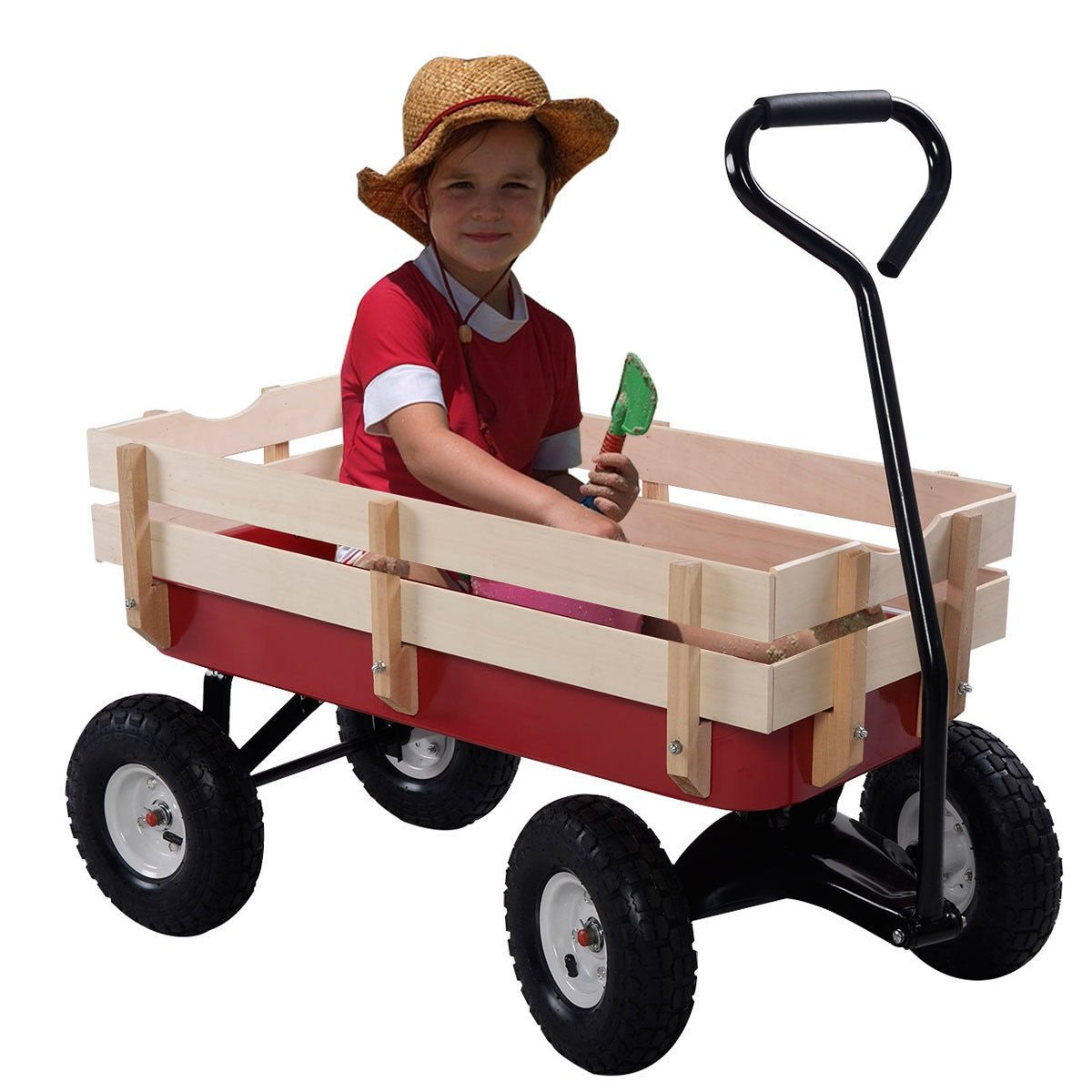 thaisan7 Kid Children Terrain Truck Wagon Garden Cart Realistic Pulling,Ride Toy,for relax and tuck in home, brain development and creativity, w/Wood Railing Red