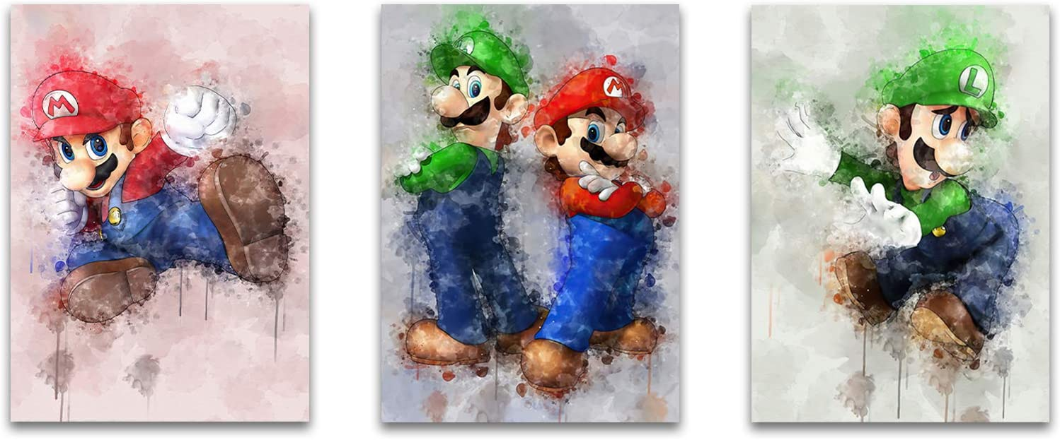 Mario Brothers Wall Decor for Boys Bedroom Teens Video Game Room Wall Decor Artwork Super Mario Poster Decorations Canvas Nursery Wall Art Painting for Mario Brother Wall Decor Giclee Print 3 Pcs