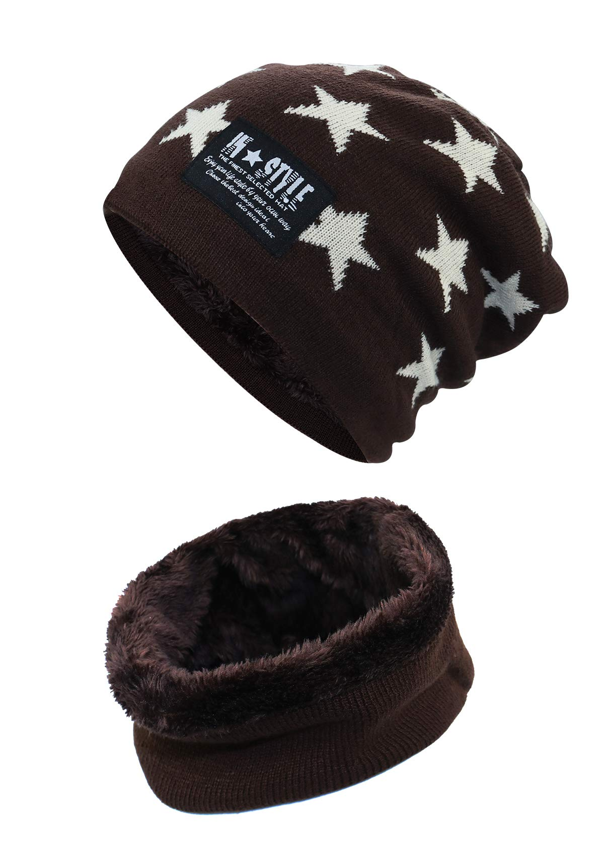 ab7c3b11454 Lover Kids Winter Warm Hat and Scarf Knitted Hat with Soft Fleece Lined  Beanie
