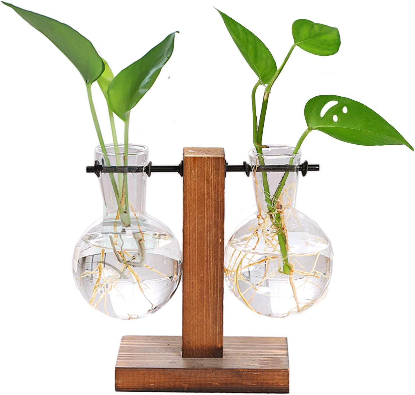 HUABEI Plant Terrarium with Wooden Stand, Air Planter Bulb Glass Vase Metal Swivel Holder Retro Tabletop for Hydroponics Home Garden Office Decoration - 2&1 Bulb Vase