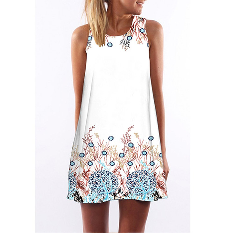 Miss Dew Women Flutter Short Beach Dress Digital Print Bohemian Sleeveless Summer Dress
