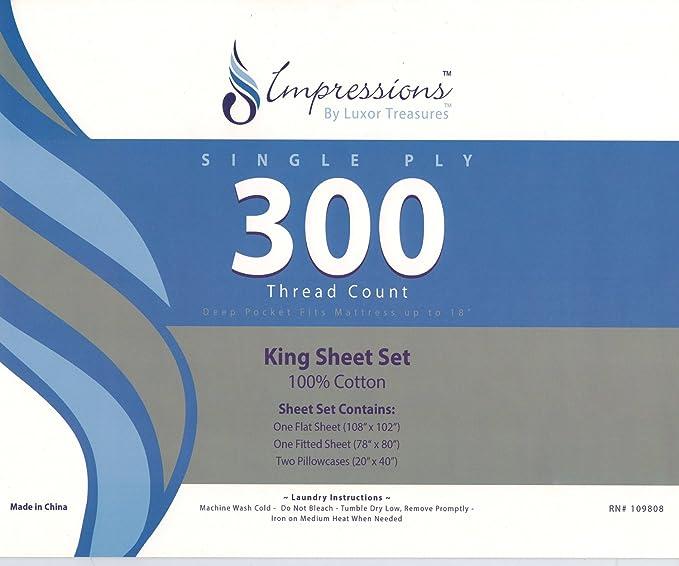 Impressions Superior - Juego de sábanas Sullivan 198 x 203 cm, de 300 hilos, multicolor: Amazon.es: Hogar