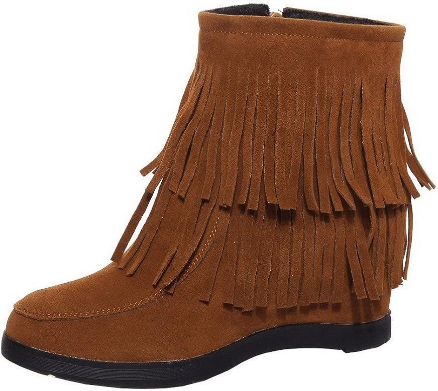 3118a3179 AgeeMi Shoes Femme Rond à Talon Haut Couleur Unie Suede Zip ...