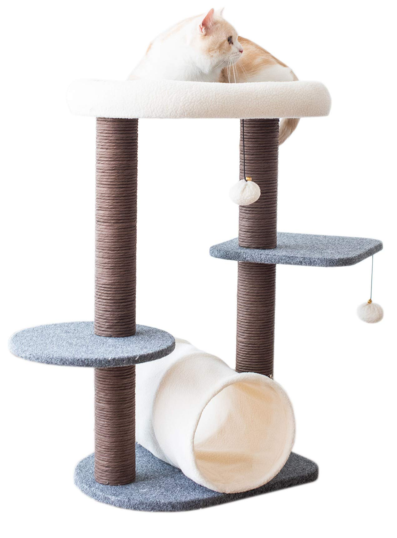 PetPals Cat Tree Cat Tower for Activity with Tunnel and Toy Ball, Gray