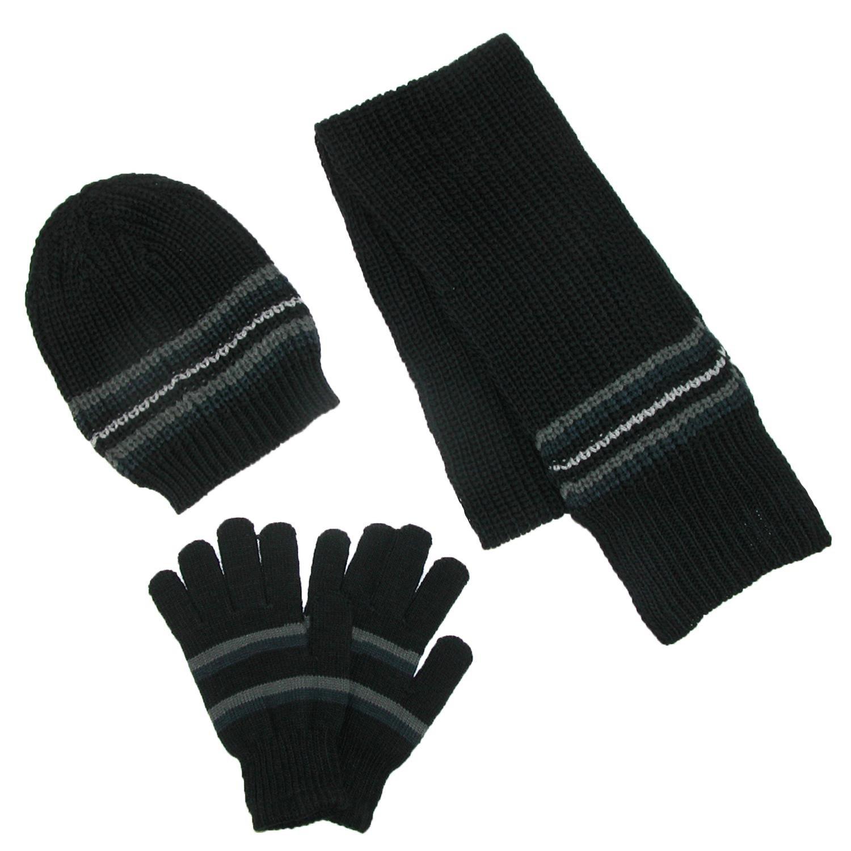 CTM Men's Knit Hat Gloves and Scarf Winter Set Black RG-K2211-BLK
