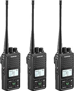 2 Ways Radio Long Range Samcom FPCN10A Walkie Talkie 20 Channels Wireless Intercom with Group Button, Business Radio UHF 400-470MHz,2 Watt, Earpiece, Belt Clip(Pack of 3)