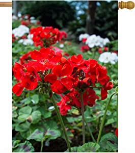 """ShineSnow Spring Red White Flowers Floral Summer Geranium Plant Seasonal House Flag 28"""" x 40"""" Double Sided Polyester Welcome Large Yard Garden Flag Banners for Patio Lawn Home Outdoor Decor"""