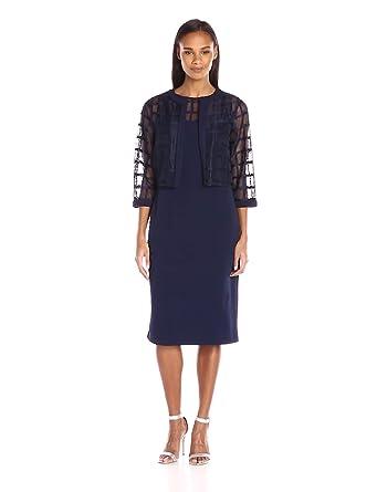 cbdb9db3ee65 Maya Brooke Women's Sheath Dress with Sheer Jacket at Amazon Women's ...