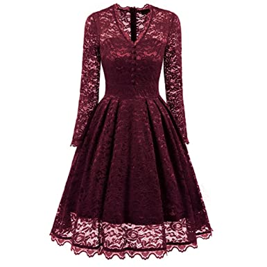 HOMEBABY Ladies Long Sleeve Evening Dresses, Women Vintage Lace Formal Patchwork Wedding Cocktail Party Retro