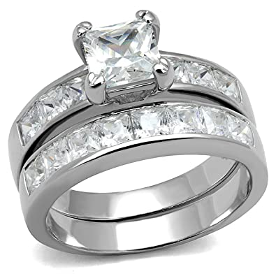Amazoncom Womens 316L Stainless Steel Princess Cut CZ Solitaire