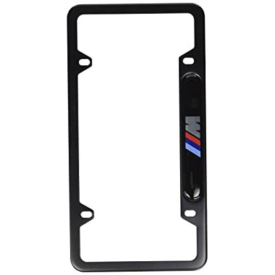 BMW FBA_82-12-0-010-404 Black Stainless Steel License Frame with M Logo: Automotive