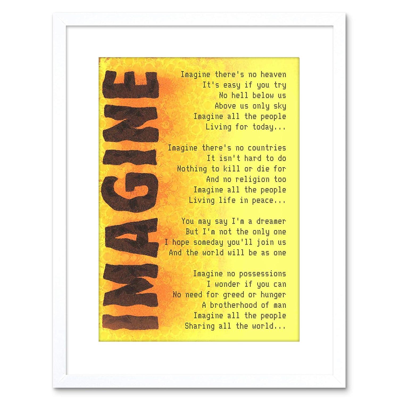 9x7  IMAGINE MUSIC JOHN LENNON LYRICS QUOTE FRAMED ART PRINT F97X441