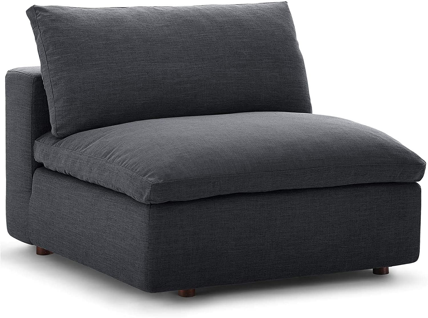 Modway Commix Down-Filled Overstuffed Upholstered Sectional Sofa Armless Chair in Gray