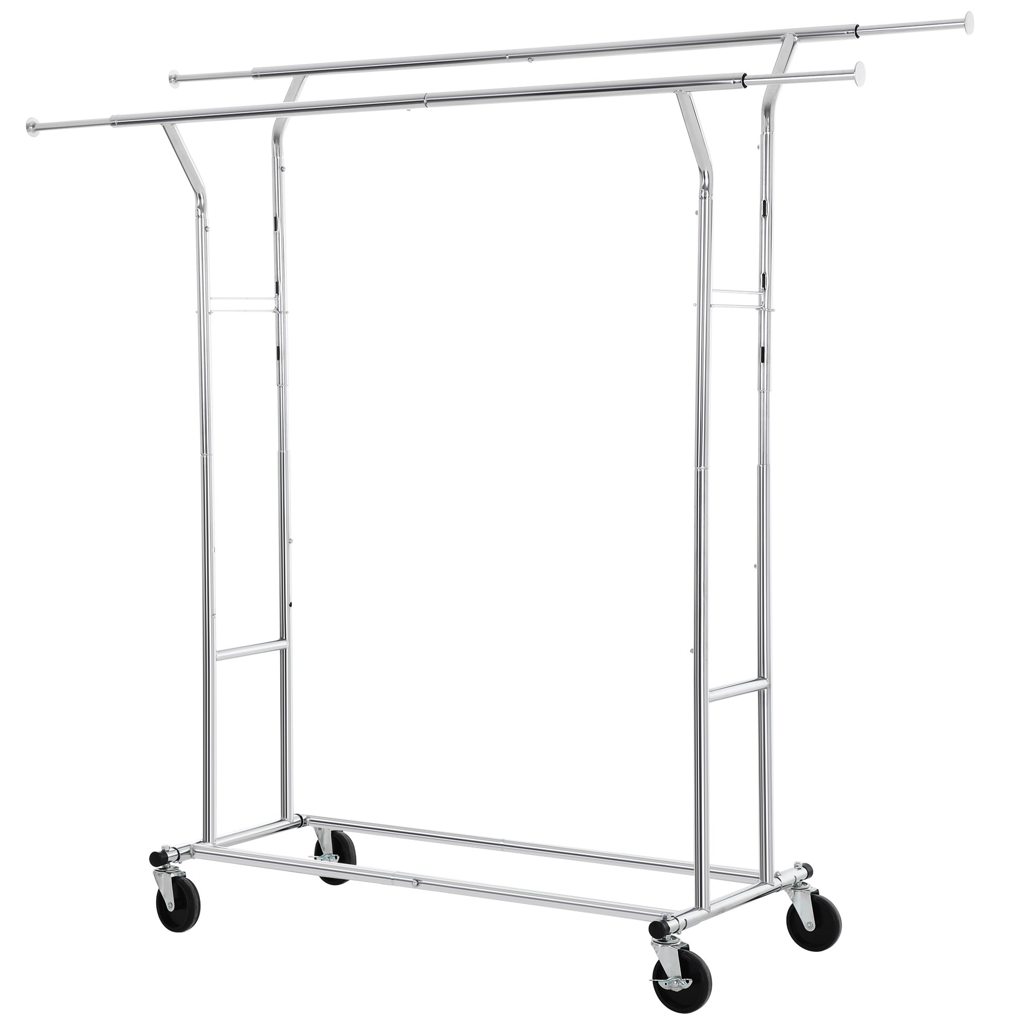 Songmics commercial grade double rail garment clothing rack for boutiques rolling hanging rack for clothes chrome