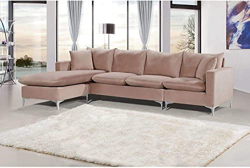 Meridian Furniture Naomi Collection Modern | Contemporary Velvet Upholstered REVERSIBLE Sectional