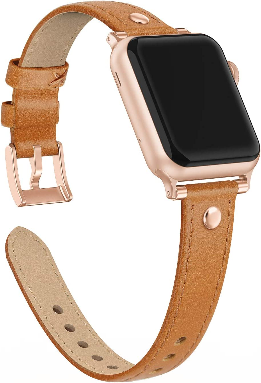Bandiction Rivets Leather Band Compatible with Apple Watch Band 38mm 40mm, Slim Dual Bead Genuine Leather Band Strap for iWatch 5 4 3 2 1 (Orange)