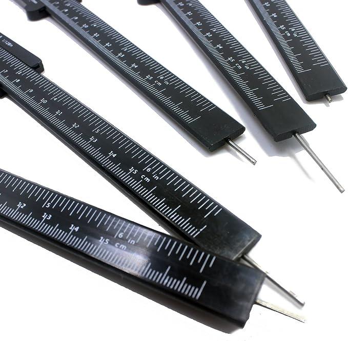 GBSTORE 2 Pcs Mini Double Scale Plastic Vernier Caliper Ruler Measuring Tool Plastic Gauging Tools DIY Measure Tools for Woodworking Metalworking Plumbing Model Making