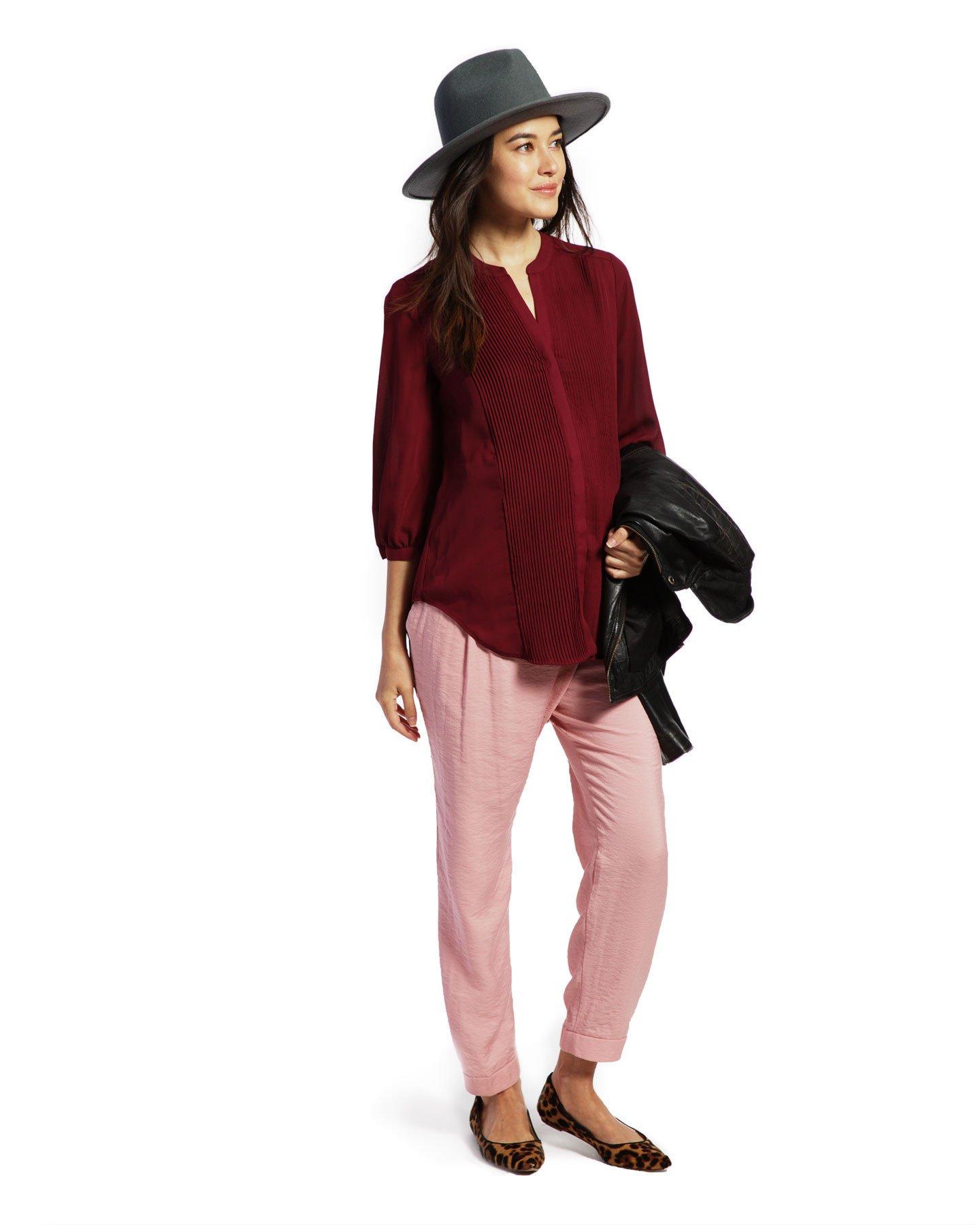 Audrey - Burgundy Tuxedo Top