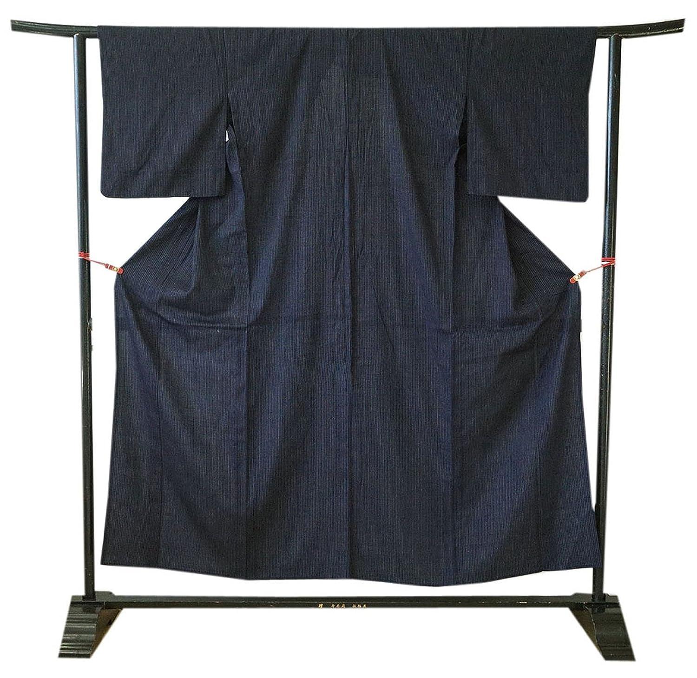 博多着物市場 きものしらゆり 単衣 黒地 縞 紬着尺 仕立て上がり 正絹 B07F8P672W  -