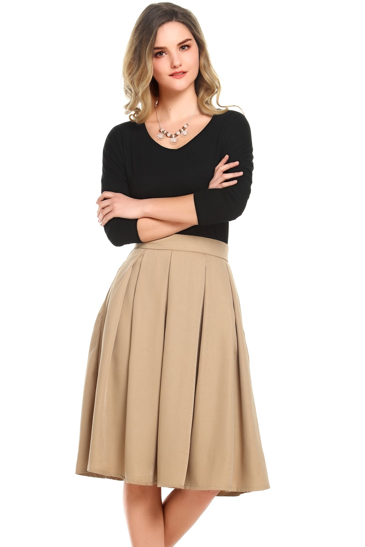 Beluring Womens High Waist Flared A-line Pleated Midi Long Skirt with Pockets Khaki Size 8