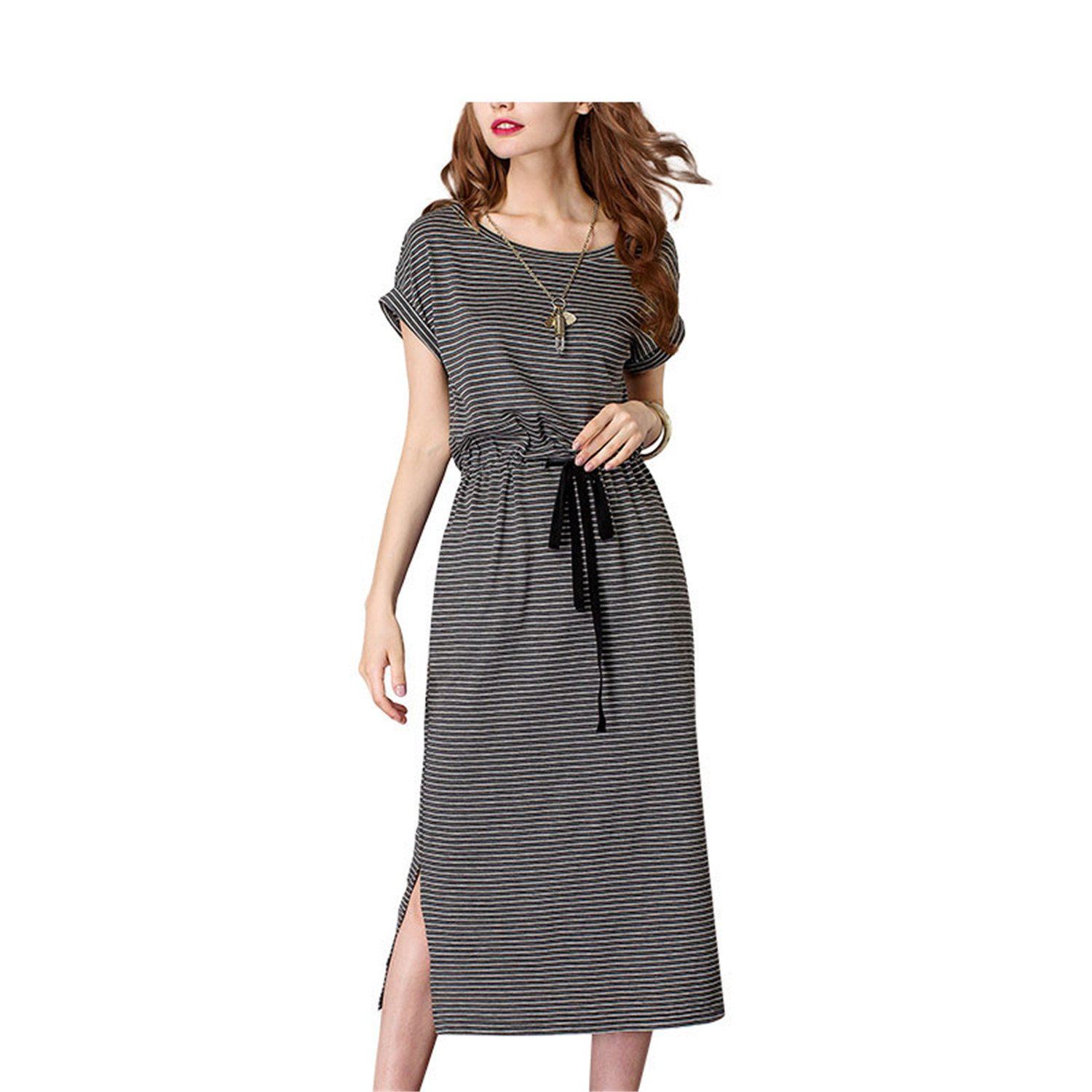 Striped Sashes Split Dress Sleee O-Neck Mid Waist Long Dress for Women estidos