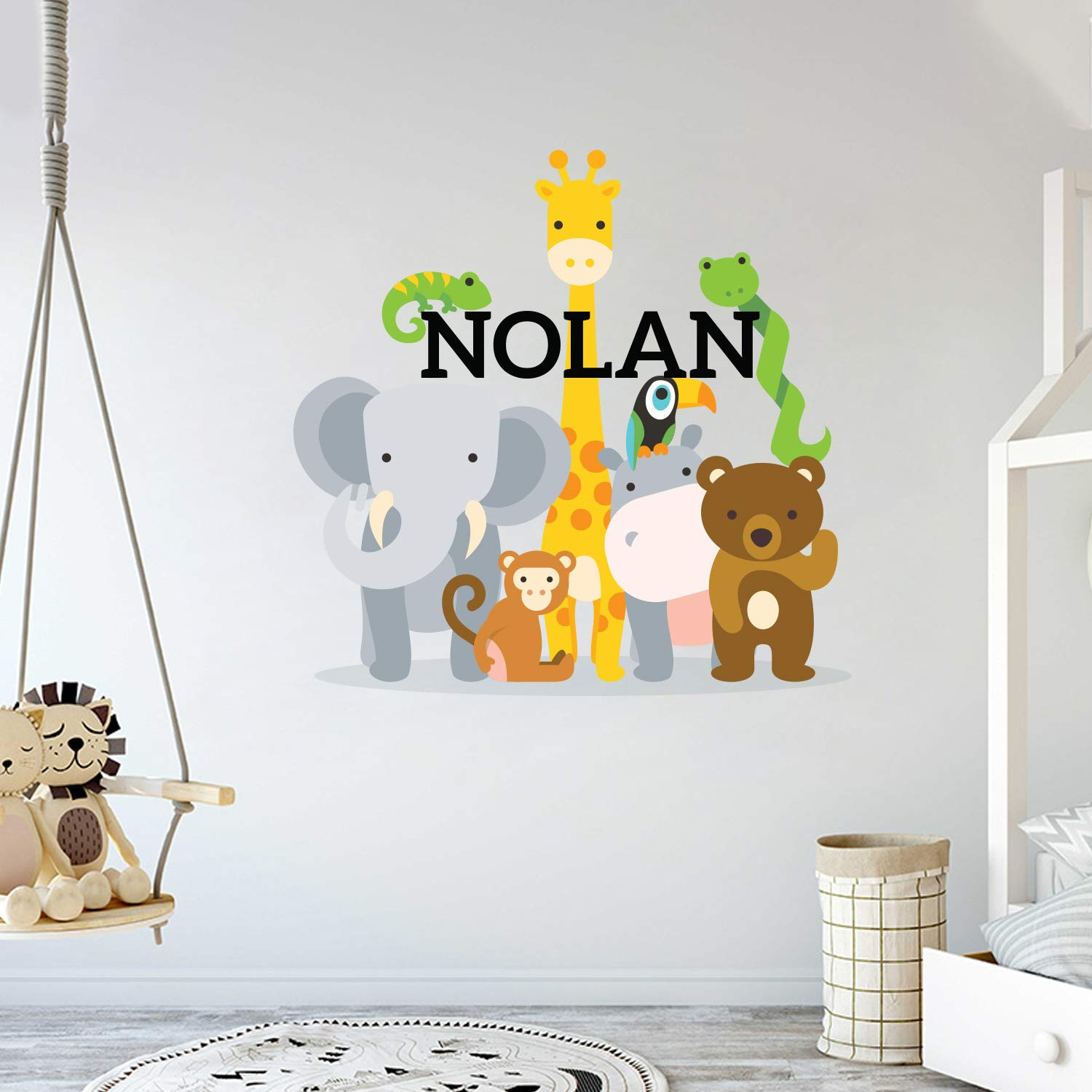 Custom Name Jungle Animals - Baby Boy Wall Decal Nursery for Home Bedroom Children (MM104) (Wide 42'' x 41'' Height)