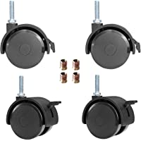 AAGUT 2″ Swivel Stem Casters with Locking Brake Threaded 1/4″ - 20 x 1″ for Furniture and Shelves, Black Replacement Castors, Pack of 4