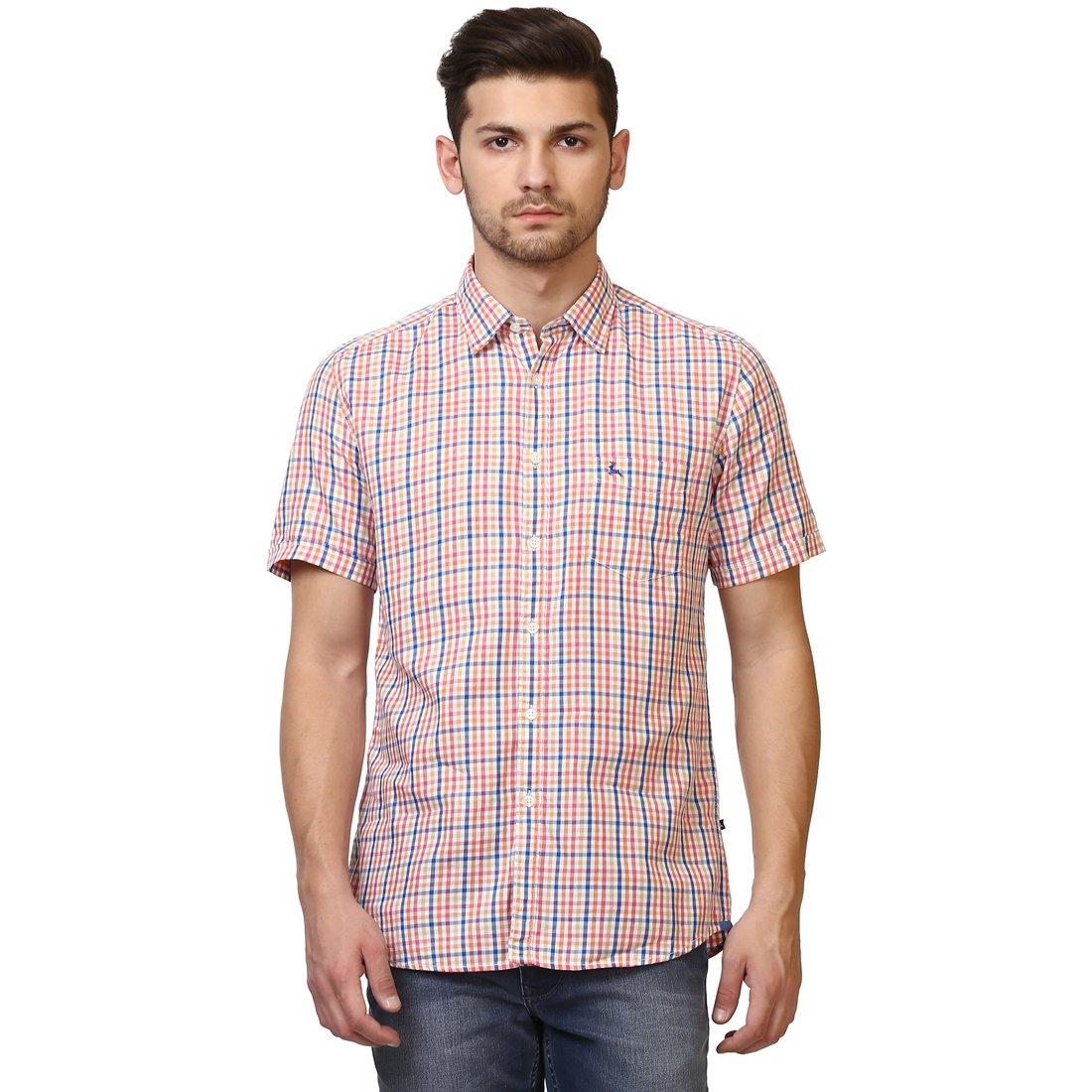 7d186a0e84 Parx Half Sleeve Regular Collar Slim Fit Medium Orange Cotton Checks Shirt  for Men: Amazon.in: Clothing & Accessories