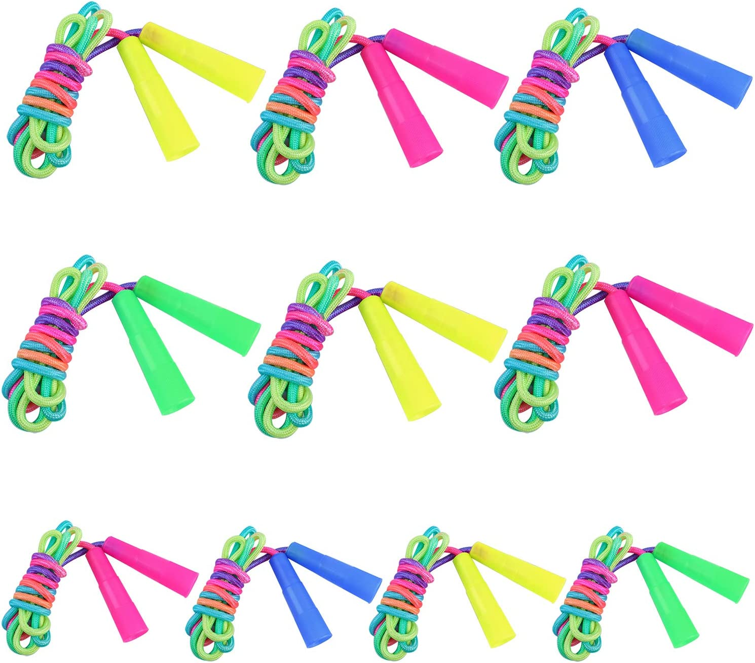 Aneco 7.2 Feet 10 Pack Rainbow Jump Rope Set Jumping Ropes Vibrant Durable Nylon Skipping Ropes Great Birthday Party Favors Indoor and Outdoor Activities