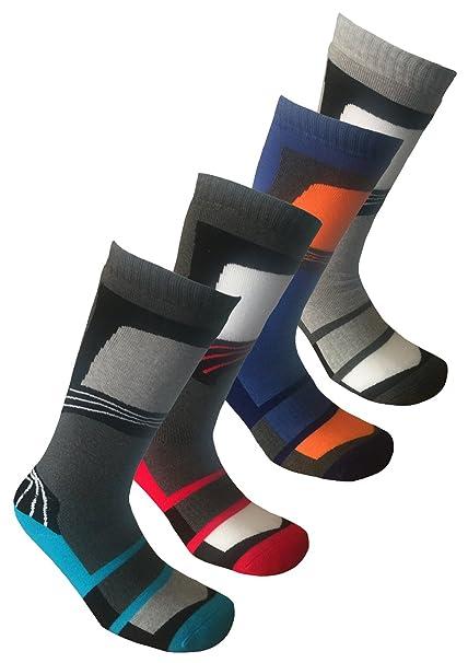 Calcetines largos de esquí para hombre, 4 pares vague: Amazon.es: Ropa y accesorios