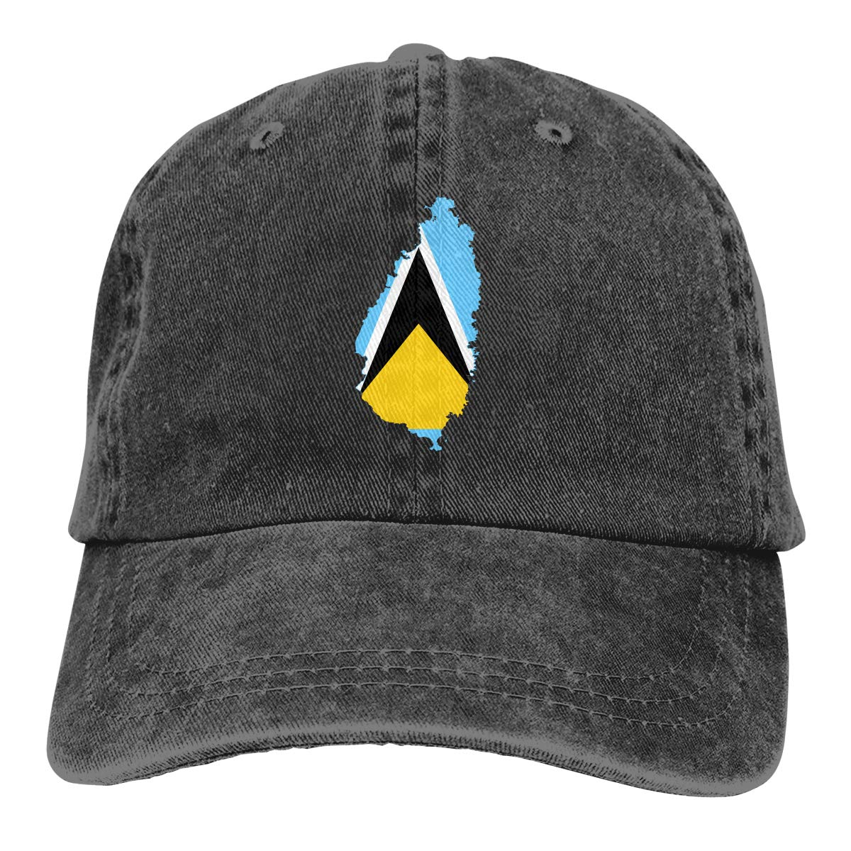 Cotton Hats Adjustable Mens Denim Baseball Caps Flag Map of Saint Lucia Custom
