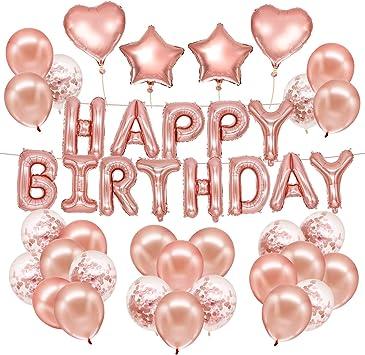 Husdow 70pcs Rose Gold Birthday Party Decorations Happy Birthday Banner 10pcs Confetti Balloon 40pcs Latex Balloon With Foil Balloon And 3 Rolls Balloon Ribbon Amazon Co Uk Toys Games
